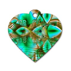 Spring Leaves, Abstract Crystal Flower Garden Dog Tag Heart (Two Sided)