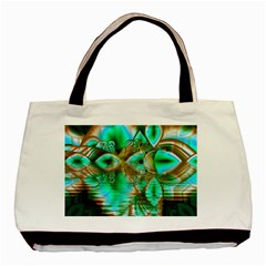 Spring Leaves, Abstract Crystal Flower Garden Twin Sided Black Tote Bag