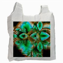 Spring Leaves, Abstract Crystal Flower Garden White Reusable Bag (One Side)