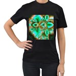 Spring Leaves, Abstract Crystal Flower Garden Women s T-shirt (Black) Front