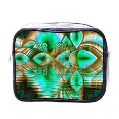 Spring Leaves, Abstract Crystal Flower Garden Mini Travel Toiletry Bag (One Side)