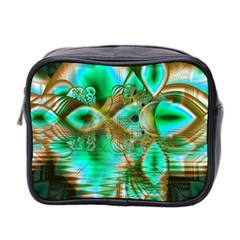 Spring Leaves, Abstract Crystal Flower Garden Mini Travel Toiletry Bag (Two Sides)