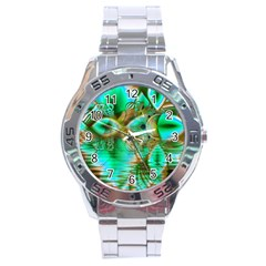 Spring Leaves, Abstract Crystal Flower Garden Stainless Steel Watch