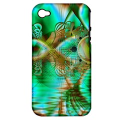 Spring Leaves, Abstract Crystal Flower Garden Apple Iphone 4/4s Hardshell Case (pc+silicone)
