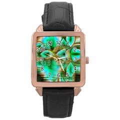 Spring Leaves, Abstract Crystal Flower Garden Rose Gold Leather Watch