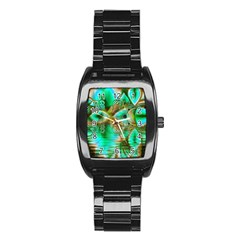 Spring Leaves, Abstract Crystal Flower Garden Stainless Steel Barrel Watch