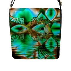 Spring Leaves, Abstract Crystal Flower Garden Flap Closure Messenger Bag (large)