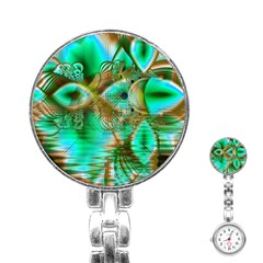 Spring Leaves, Abstract Crystal Flower Garden Stainless Steel Nurses Watch