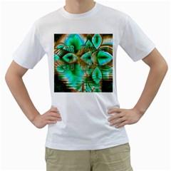 Spring Leaves, Abstract Crystal Flower Garden Men s T-Shirt (White)