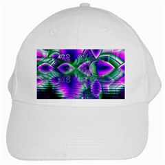 Evening Crystal Primrose, Abstract Night Flowers White Baseball Cap