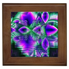 Evening Crystal Primrose, Abstract Night Flowers Framed Ceramic Tile