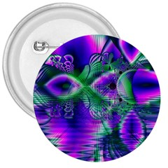 Evening Crystal Primrose, Abstract Night Flowers 3  Button