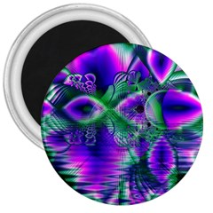 Evening Crystal Primrose, Abstract Night Flowers 3  Button Magnet