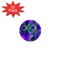 Evening Crystal Primrose, Abstract Night Flowers 1  Mini Button Magnet (10 pack)