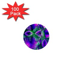 Evening Crystal Primrose, Abstract Night Flowers 1  Mini Button (100 Pack)