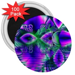 Evening Crystal Primrose, Abstract Night Flowers 3  Button Magnet (100 Pack)