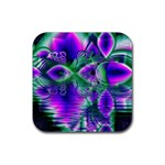 Evening Crystal Primrose, Abstract Night Flowers Drink Coaster (Square) Front