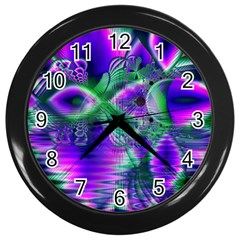 Evening Crystal Primrose, Abstract Night Flowers Wall Clock (Black)