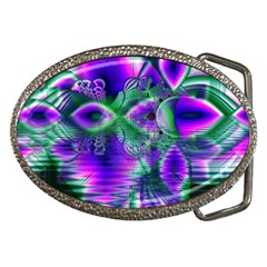 Evening Crystal Primrose, Abstract Night Flowers Belt Buckle (Oval)