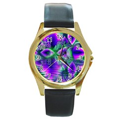 Evening Crystal Primrose, Abstract Night Flowers Round Leather Watch (Gold Rim)