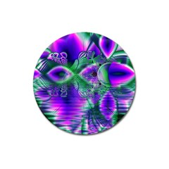 Evening Crystal Primrose, Abstract Night Flowers Magnet 3  (round)