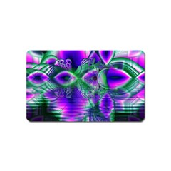 Evening Crystal Primrose, Abstract Night Flowers Magnet (Name Card)