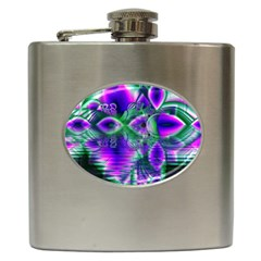 Evening Crystal Primrose, Abstract Night Flowers Hip Flask