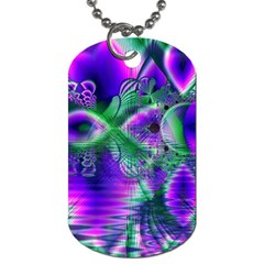Evening Crystal Primrose, Abstract Night Flowers Dog Tag (two Sided)
