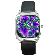 Evening Crystal Primrose, Abstract Night Flowers Square Leather Watch