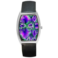 Evening Crystal Primrose, Abstract Night Flowers Tonneau Leather Watch