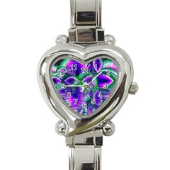 Evening Crystal Primrose, Abstract Night Flowers Heart Italian Charm Watch