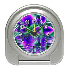 Evening Crystal Primrose, Abstract Night Flowers Desk Alarm Clock