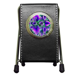 Evening Crystal Primrose, Abstract Night Flowers Stationery Holder Clock