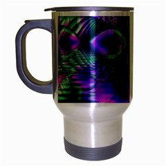 Evening Crystal Primrose, Abstract Night Flowers Travel Mug (Silver Gray)
