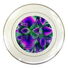 Evening Crystal Primrose, Abstract Night Flowers Porcelain Display Plate