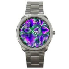 Evening Crystal Primrose, Abstract Night Flowers Sport Metal Watch