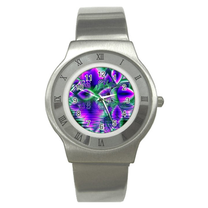 Evening Crystal Primrose, Abstract Night Flowers Stainless Steel Watch (Slim)