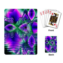 Evening Crystal Primrose, Abstract Night Flowers Playing Cards Single Design
