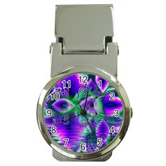 Evening Crystal Primrose, Abstract Night Flowers Money Clip with Watch