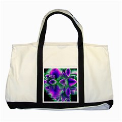 Evening Crystal Primrose, Abstract Night Flowers Two Toned Tote Bag