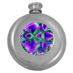 Evening Crystal Primrose, Abstract Night Flowers Hip Flask (Round)