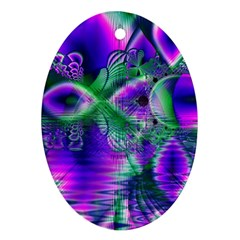 Evening Crystal Primrose, Abstract Night Flowers Oval Ornament (Two Sides)