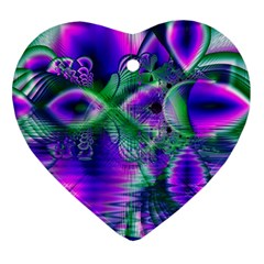 Evening Crystal Primrose, Abstract Night Flowers Heart Ornament (Two Sides)