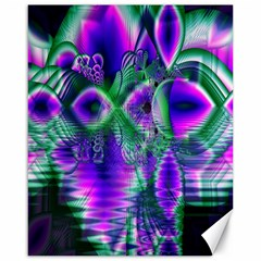 Evening Crystal Primrose, Abstract Night Flowers Canvas 16  x 20  (Unframed)