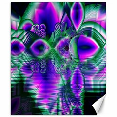 Evening Crystal Primrose, Abstract Night Flowers Canvas 20  x 24  (Unframed)