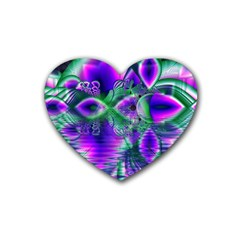 Evening Crystal Primrose, Abstract Night Flowers Drink Coasters 4 Pack (heart)