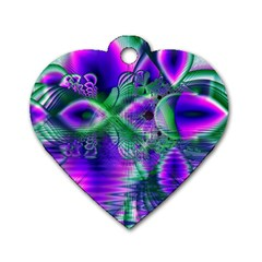 Evening Crystal Primrose, Abstract Night Flowers Dog Tag Heart (one Sided)