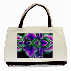 Evening Crystal Primrose, Abstract Night Flowers Twin-sided Black Tote Bag