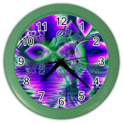 Evening Crystal Primrose, Abstract Night Flowers Wall Clock (Color)