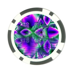 Evening Crystal Primrose, Abstract Night Flowers Poker Chip